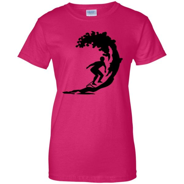 Surfing womens t shirt - lady t shirt - pink heliconia