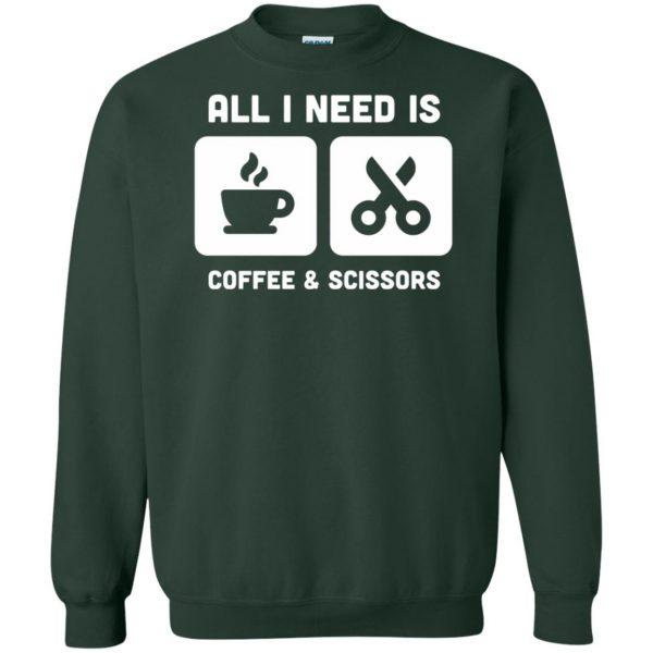 Coffee & Scissors - Funny Hair Stylist sweatshirt - forest green