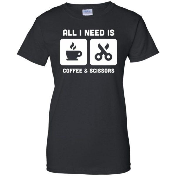 Coffee & Scissors - Funny Hair Stylist womens t shirt - lady t shirt - black