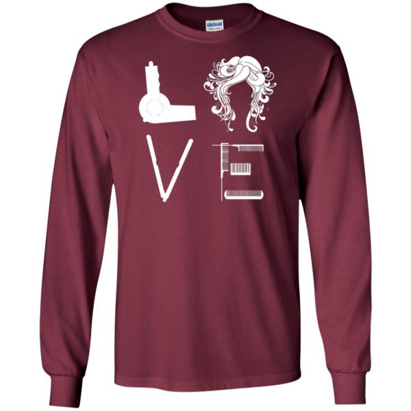 I Love Hairstylist long sleeve - maroon
