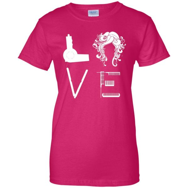 I Love Hairstylist womens t shirt - lady t shirt - pink heliconia