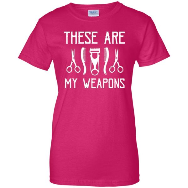 Barber's Weapons womens t shirt - lady t shirt - pink heliconia