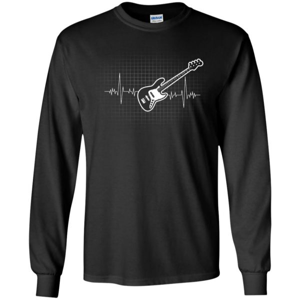 Bass Guitar Heartbeat long sleeve - black