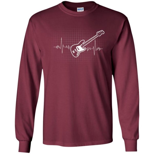 Bass Guitar Heartbeat long sleeve - maroon