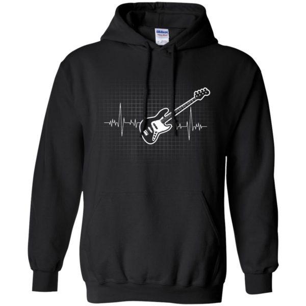 Bass Guitar Heartbeat hoodie - black