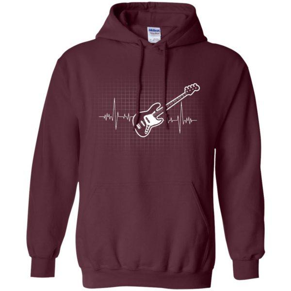 Bass Guitar Heartbeat hoodie - maroon