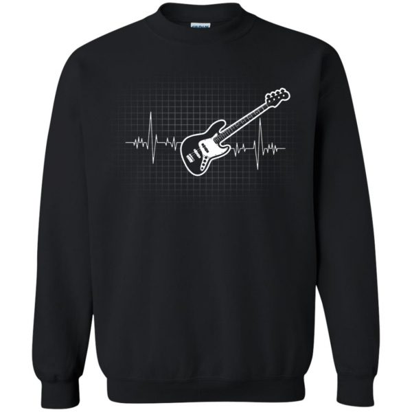 Bass Guitar Heartbeat sweatshirt - black