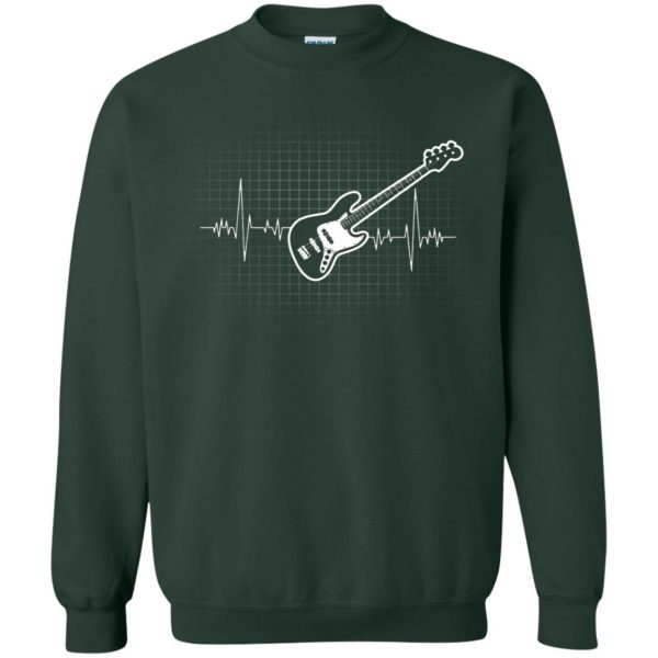 Bass Guitar Heartbeat sweatshirt - forest green
