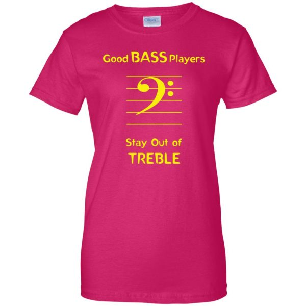 Good Bass Player womens t shirt - lady t shirt - pink heliconia