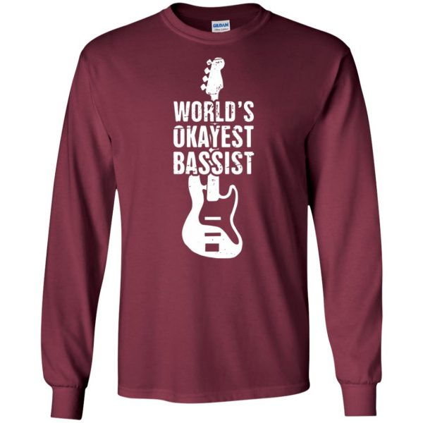 Funny Distressed Bass Guitar Player long sleeve - maroon