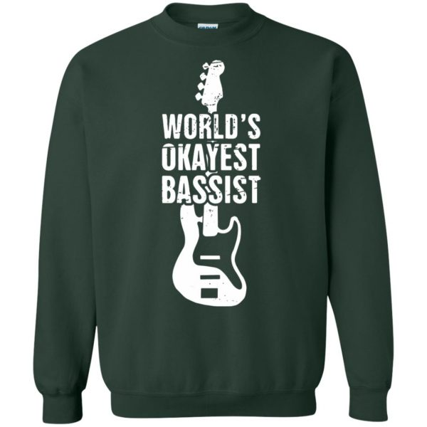Funny Distressed Bass Guitar Player sweatshirt - forest green