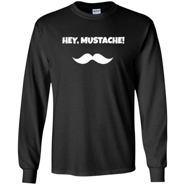 mustache t shirt long sleeve - black