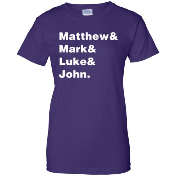 matthew mark luke john womens t shirt - lady t shirt - purple